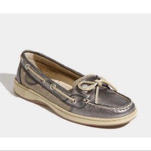 SPERRY Angelfish Pewter Metallic Shoes Size 8